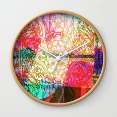 Flower Dreamscape - Painting, Illustration, pink, purple, yellow, blue Wall Clock