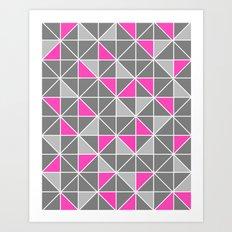 Pink & Grey Geometric Pa… Art Print