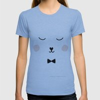 FACES HUGO with a Bow Womens Fitted Tee Athletic Blue SMALL