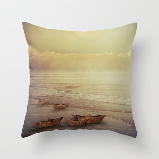 Paper Boats Throw Pillow