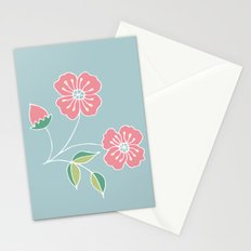 Pink floral placement on blue Stationery Cards