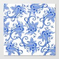 Paisley: Blue China Comb… Canvas Print