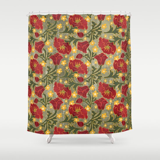Vintage Crepe Floral Shower Curtain by Naturessol | Society6