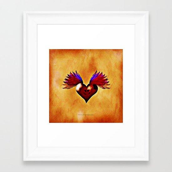 FLYING SKULL HEART Framed Art Print