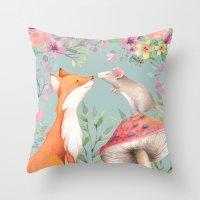 Fox & mouse Throw Pillow