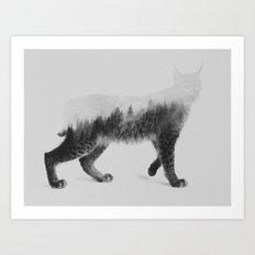 The Lynx (black & white version) Art Print