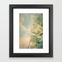 Cloudy with Sunshine and Queen Anne's Lace Wild Flowers in a Meadow Framed Art Print