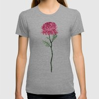 Pink Chrysanthemum Womens Fitted Tee Tri-Grey SMALL