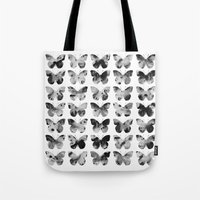 Butterflies Watercolor (black and white) Tote Bag