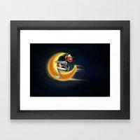 Crazy Moon Cow Framed Art Print