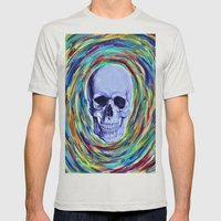 A Skull's Vortex Mens Fitted Tee Silver SMALL