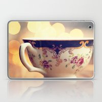 Blue and Gold Steaming Cup Laptop & iPad Skin