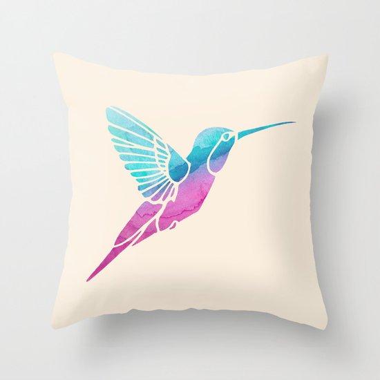 Watercolor Hummingbird Throw Pillow