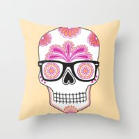 Sugar Skull #bonethug Throw Pillow