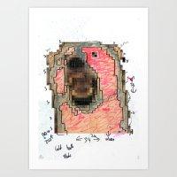Bear Pixel Plans Art Print