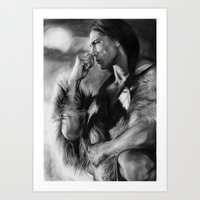 native american Art Prints featuring Native American  by Thubakabra