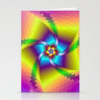 Whirligig in Yellow Blue and Green Stationery Cards