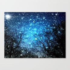 Black Trees Blue SPACE Canvas Print