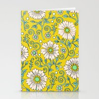 Lemon Yellow Floral Stationery Cards