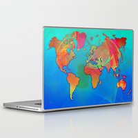 world map Laptop & iPad Skins featuring World Map by Roger Wedegis