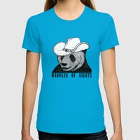 Cowboy Panda Womens Fitted Tee Teal SMALL
