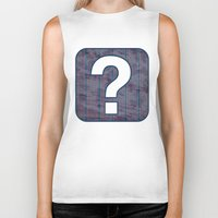 Red stripes on blue grungy textured background Biker Tank