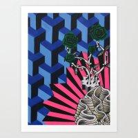 Green Roses Art Print