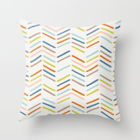 Mixed Herringbone - in Burnt Orange Throw Pillow