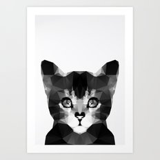 Black Geo Cat Art Print