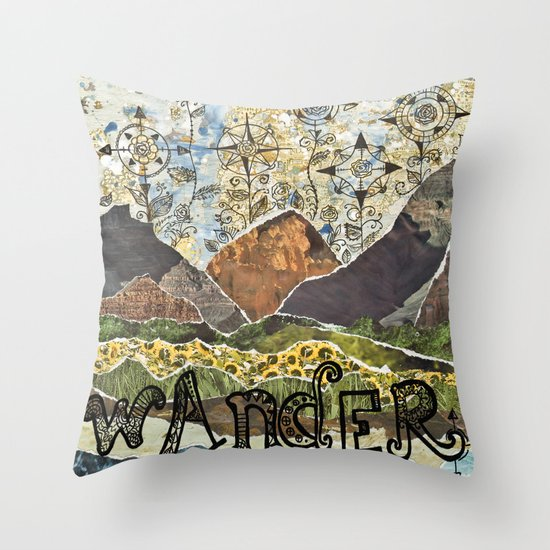 Compass Rose Garden Throw Pillow