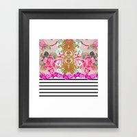 Fashion Girly Pink Vintage Floral Trendy Stripes Pattern Framed Art Print