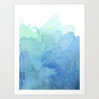 Abstract Watercolor Texture Blue Green Art Print