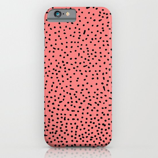 Black Dots on Coral iPhone & iPod Case