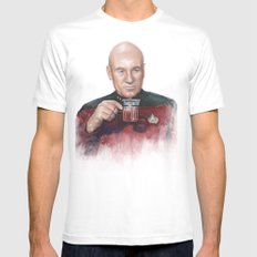 Tea. Earl Grey. Hot. Captain Picard Star Trek   Watercolor SMALL Mens Fitted Tee White