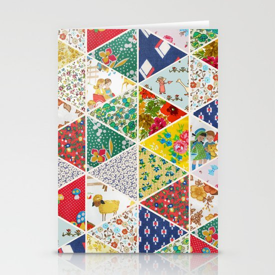 Geometric Floral Quilt Stationery Card