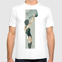 PAINTED BLACK Mens Fitted Tee White SMALL