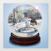 Blue Christmas Globe Canvas Print