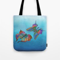 Butterflies And Blue Ski… Tote Bag