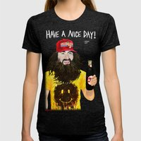 HAVE A NICE DAY! Womens Fitted Tee Tri-Black SMALL