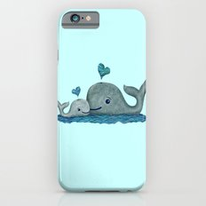 Whale Mom and Baby with Hearts iPhone 6s Slim Case