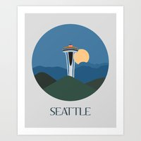 seattle Art Prints featuring Seattle by uzualsunday