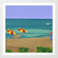 South Beach Pillow 2 Art Print