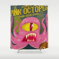 Pink octopus from outer space Shower Curtain