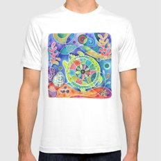 Sea Turtle Abstract SMALL White Mens Fitted Tee