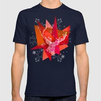 Christmas Deer Mens Fitted Tee Navy SMALL