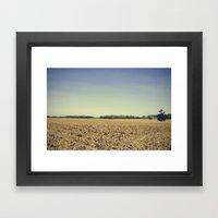 Lonely Field In Blue Framed Art Print