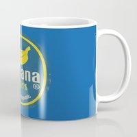 Banana Sticker On Blue Mug