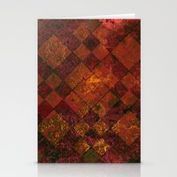 Old Tile - maroon and gold Stationery Cards