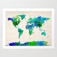 Watercolor Map Of The Wo… Art Print