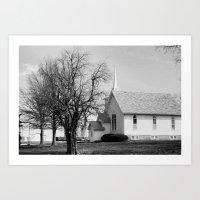 Country Church On Sunday. Art Print